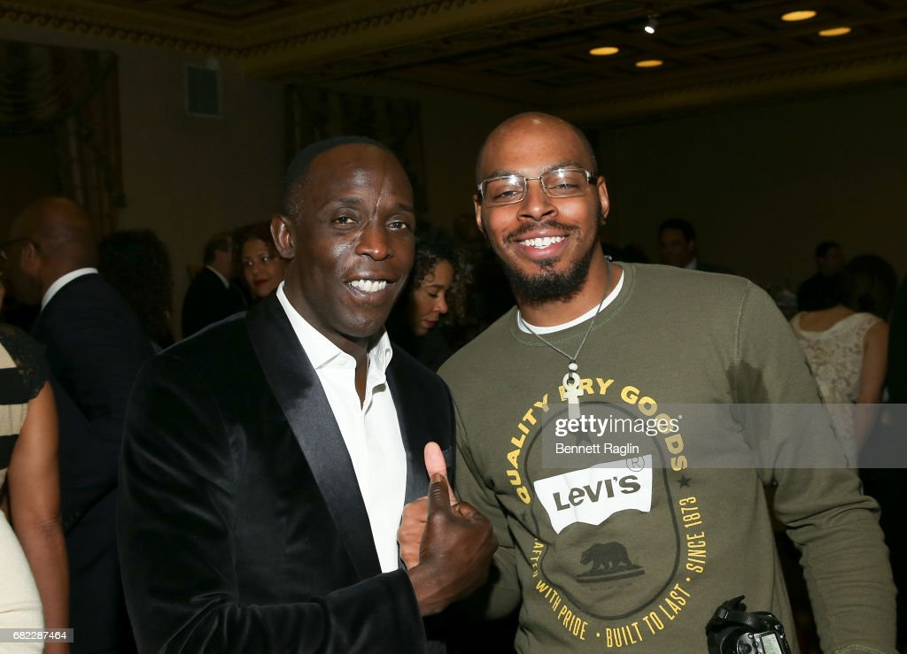 Actor Michael K. Williams and artist Dlo Slaughter attends the Brotherhood/Sister Sol 2017 Gala at Gotham Hall on May 11, 2017 in New York City.