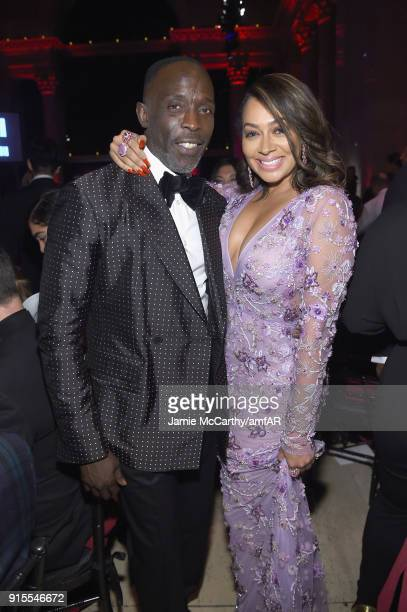 Actor Michael K Williams and Television personality La La Anthony attends the 2018 amfAR Gala New York at Cipriani Wall Street on February 7 2018 in...