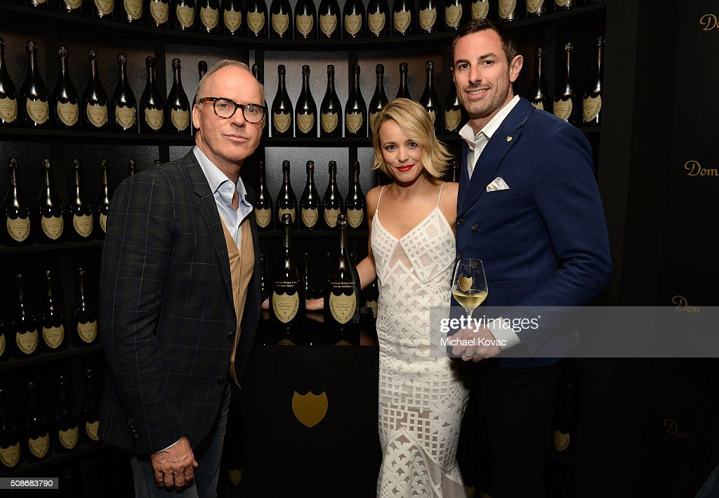 Actor Michael Keaton, actress Rachel McAdams, and Dom Perignon Brand Director Richard Beaumont visit the Dom Perignon Lounge before receiving the American Riviera Award at The Santa Barbara International Film Festival on February 5, 2016 in Santa Barbara, California.
