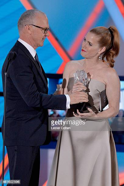 Actor Michael Keaton and actress Amy Adams speak onstage during the 20th annual Critics' Choice Movie Awards at the Hollywood Palladium on January 15...