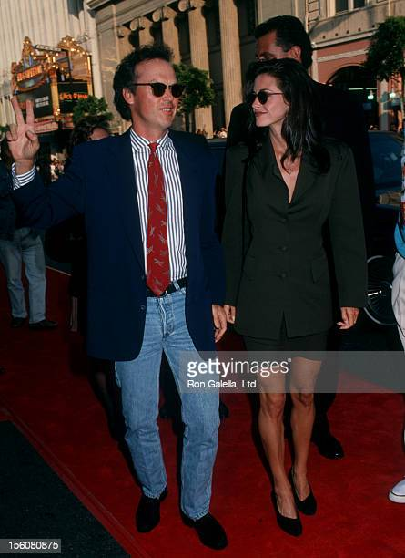 Actor Michael Keaton and actress Courteney Cox attending the premiere of 'Batman Returns' on June 16 1992 at Mann Chinese Theater in Hollywood...