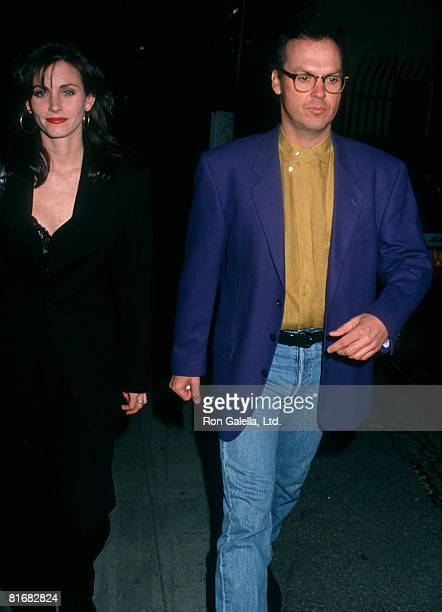 Actor Michael Keaton and actress Courteney Cox attending the wrap party for Batman Returns on March 6 1992 at the Mayan Theater in Los Angeles...