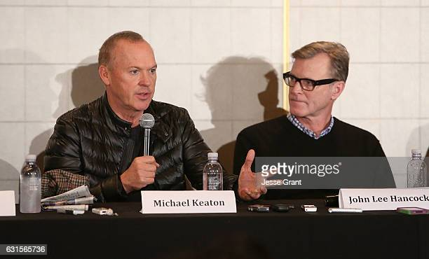 Actor Michael Keaton and director John Lee Hancock attend a press conference for 'The Founder' at The London Hotel on January 12 2017 in West...