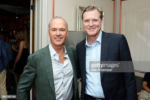 Actor Michael Keaton and director John Lee Hancock attend The Weinstein Company's Celebratory Lunch for Michael Keaton Hosted at the private...
