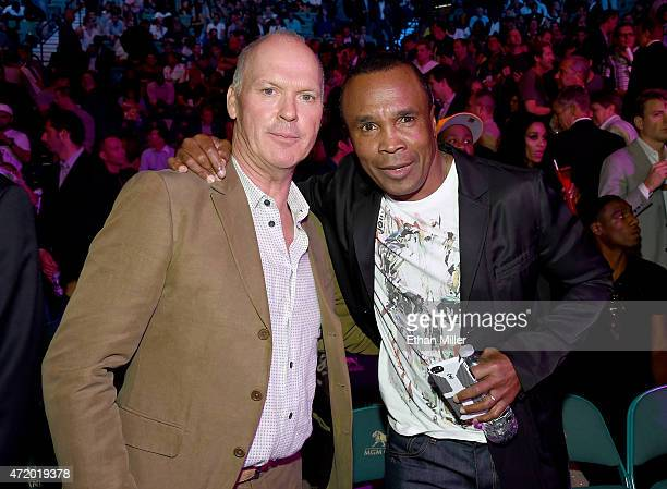 "Actor Michael Keaton and former boxer Sugar Ray Leonard pose ringside at ""Mayweather VS Pacquiao"" presented by SHOWTIME PPV And HBO PPV at MGM Grand..."