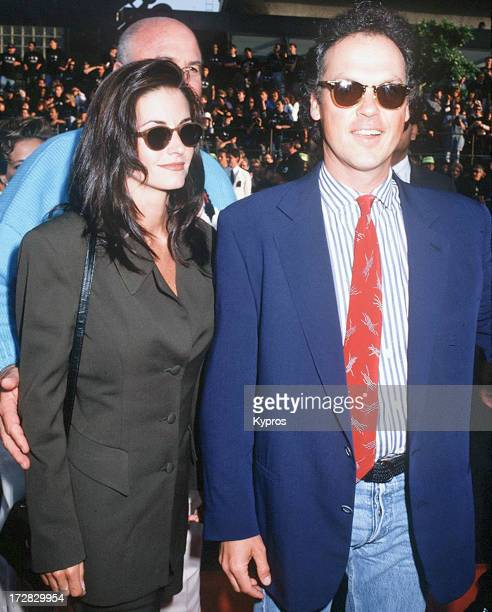 Actor Michael Keaton and his partner actress Courteney Cox at the world premiere of 'Batman Returns' at Mann's Chinese Theatre in Hollywood...