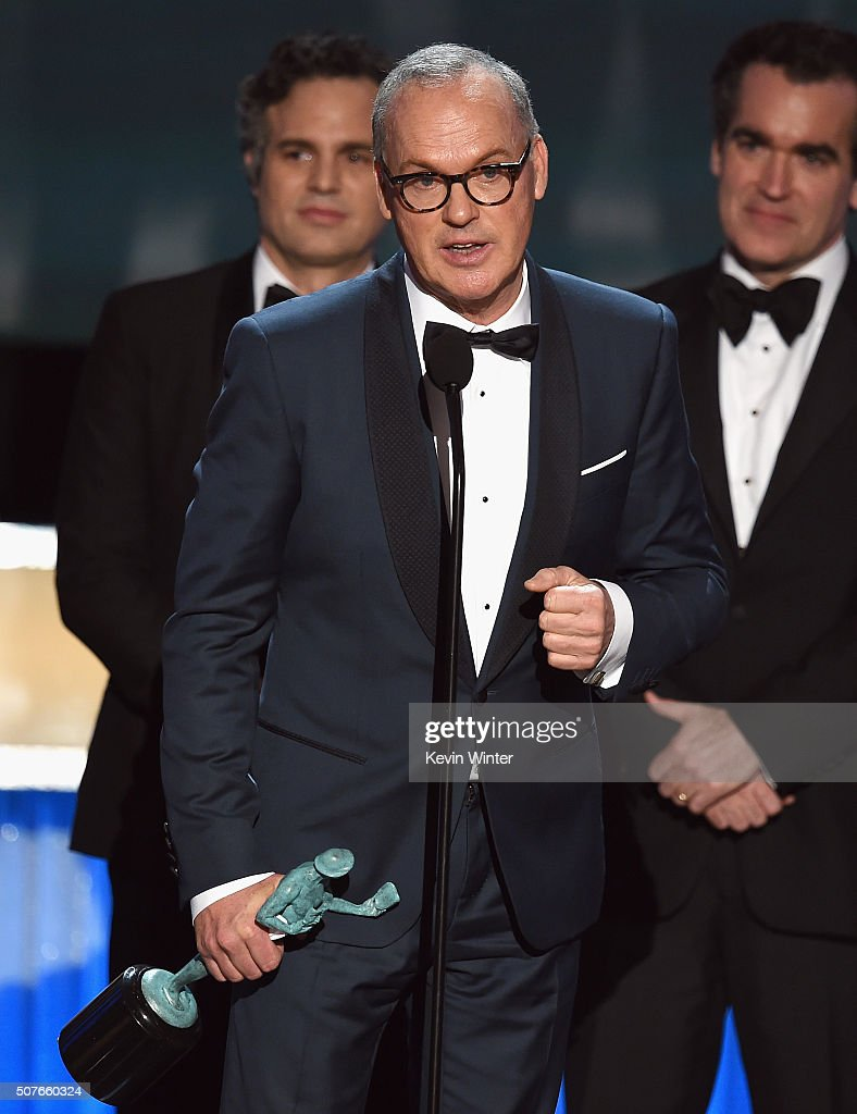 Actor Michael Keaton and the cast of 'Spotlight' accept the Cast in a Motion Picture award onstage during The 22nd Annual Screen Actors Guild Awards at The Shrine Auditorium on January 30, 2016 in Los Angeles, California. 25650_021