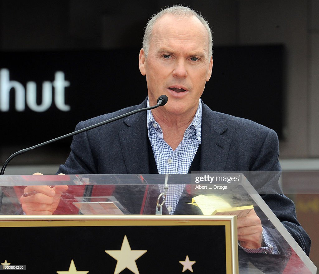 Actor Michael Keaton at the Ron Howard Star ceremony on The Hollywood Walk Of Fame held on December 10, 2015 in Hollywood, California.