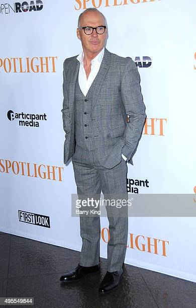 "Actor Michael Keaton attends screening of Open Road Films' ""Spotlight"" at the DGA Theater on November 3, 2015 in Los Angeles, California."