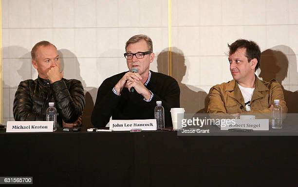 Actor Michael Keaton director John Lee Hancock and writer Robert Siegel attend a press conference for 'The Founder' at The London Hotel on January 12...