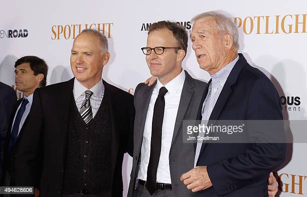 Actor Michael Keaton director/actor Thomas McCarthy and Walter Robinson attend the Spotlight New York premiere at Ziegfeld Theater on October 27 2015...