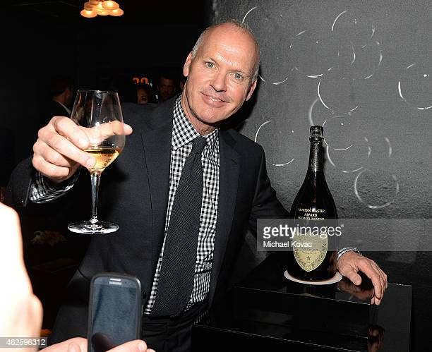 Actor Michael Keaton visits the Dom Perignon Lounge after receiving the Modern Master Award at The Santa Barbara International Film Festival on...