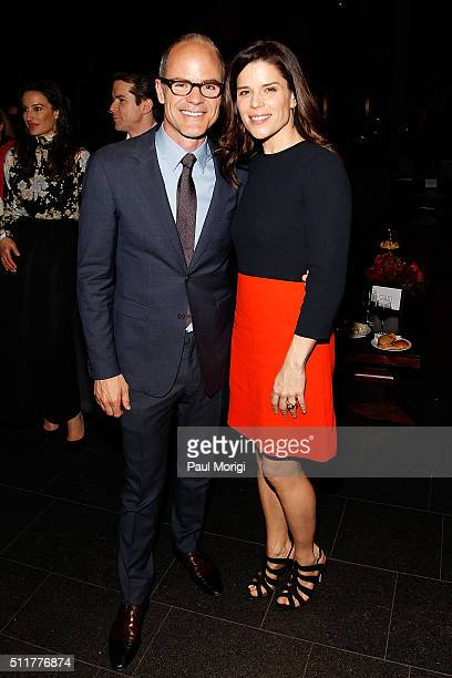 Actor Michael Kelly and Actress Neve Campbell attend the portrait unveiling and season 4 premiere of Netflix's 'House Of Cards' at the National...