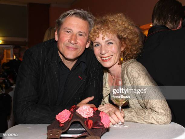 Actor Michael Kind and actress Nina Hoger attend the German Film Award 2009 after party at the Palais am Funkturm on April 24 2009 in Berlin Germany