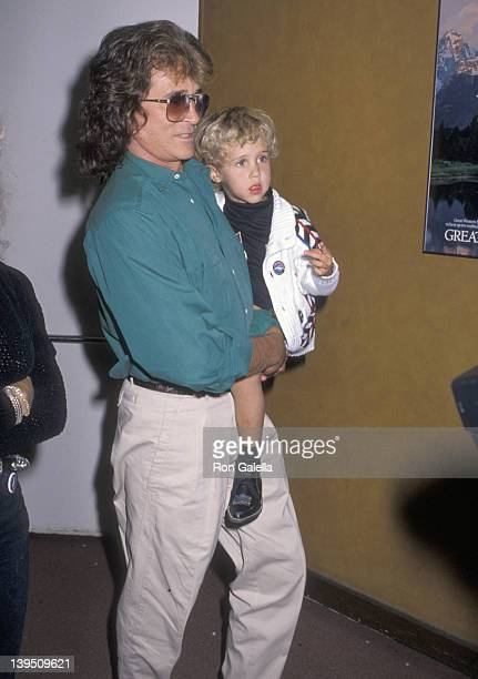 Actor Michael Landon and son Sean Landon attend the Moscow Circus Opening Night Performance on March 14 1990 at the Great Western Forum in Inglewood...