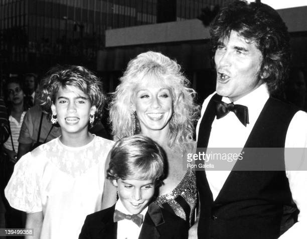 Actor Michael Landon and wife Cindy Clerico attend the premiere of Sam's Son on August 15 1984 at the Academy Theater in Beverly Hills California