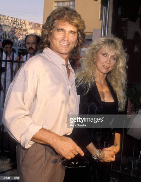 Actor Michael Landon and wife Cindy Landon attend Milton Berle's 82nd Birthday Party on July 13 1990 at The Improv in West Hollywood California