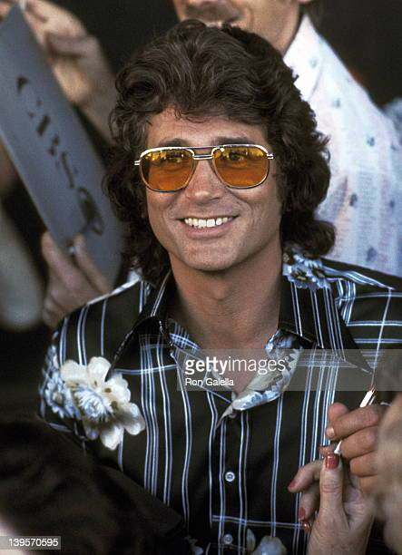 Actor Michael Landon on February 16 1977 spotted on the set of 'Little House on the Prairie' at the CBS Television City in Los Angeles California