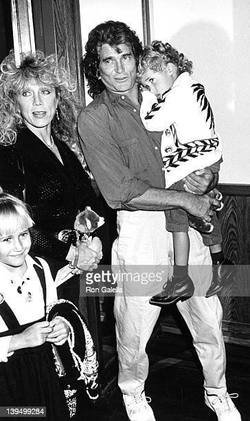 Actor Michael Landon wife Cindy Clerico daughter Jennifer Landon and son Sean Landon attend the opening of the Moscow Circus on March 14 1990 at the...