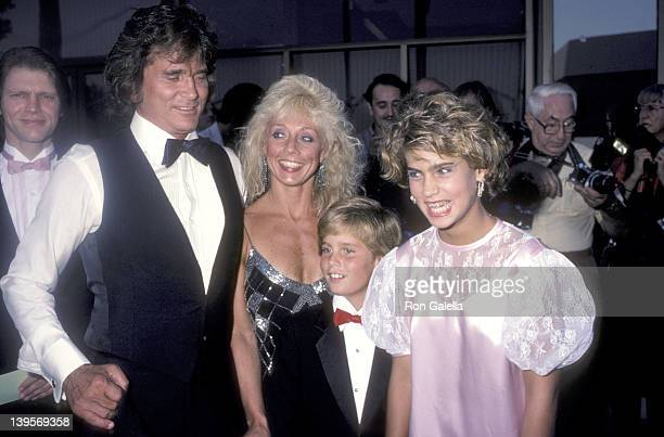 Actor Michael Landon wife Cindy Landon and his kids Christopher Landon and Shawna Landon attend the 'Sam's Son' Beverly Hills Premiere on August 15...