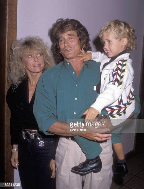 Actor Michael Landon wife Cindy Landon and son Sean Landon attend the Moscow Circus Opening Night Performance on March 14 1990 at the Great Western...