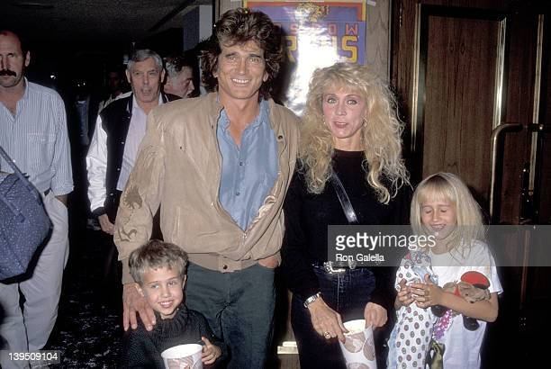 Actor Michael Landon wife Cindy Landon son Sean Landon and daughter Jennifer Landon attend the Moscow Circus Opening Night Performance on March 6...
