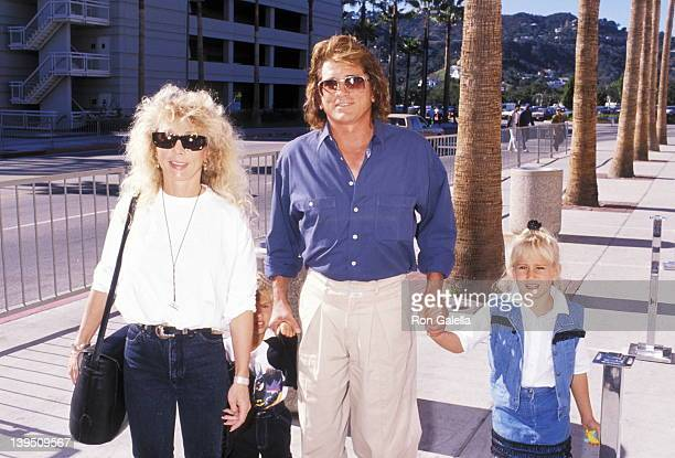 Actor Michael Landon wife Cindy Landon son Sean Landon and daughter Jennifer Landon attend The Wizard Universal City Premiere on December 2 1989 at...
