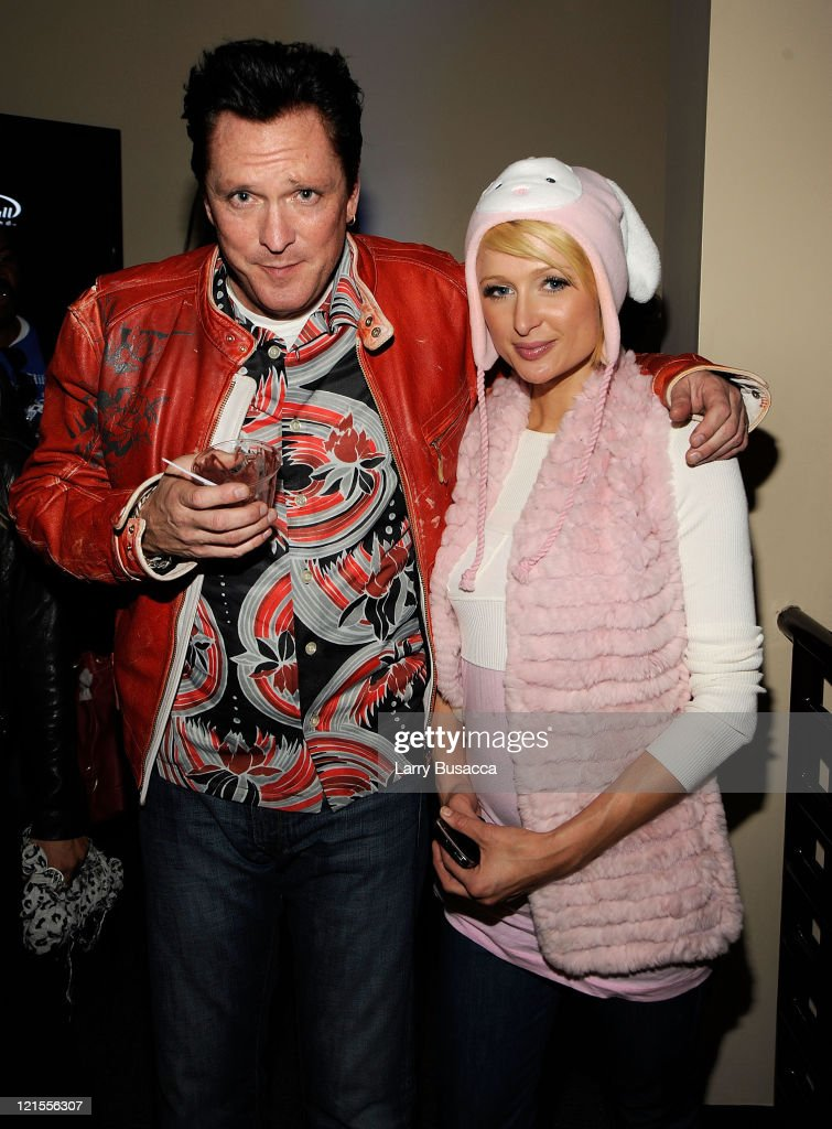 Actor Michael Madsen and Paris Hilton visit the Hollywood Life House Suite on January 18, 2009 in Park City, Utah.