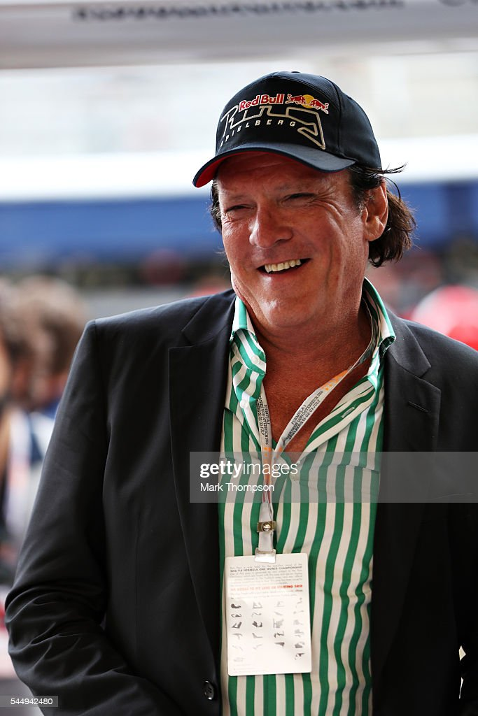 Actor Michael Madsen in the Red Bull Racing garage during qualifying for the Formula One Grand Prix of Austria at Red Bull Ring on July 2, 2016 in Spielberg, Austria.