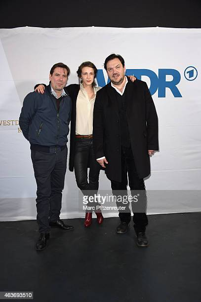 Actor Michael Maertens actress Natalia Belitski and actor Charly Huebner attend the premiere of 'Vorsicht vor Leuten' at the Cinenova on February 17...