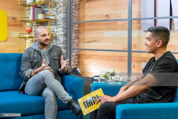 Actor Michael Mando and host Tim Kash on the set of 'The IMDb Show' on August 21 2018 in Studio City California This episode of 'The IMDb Show' airs...