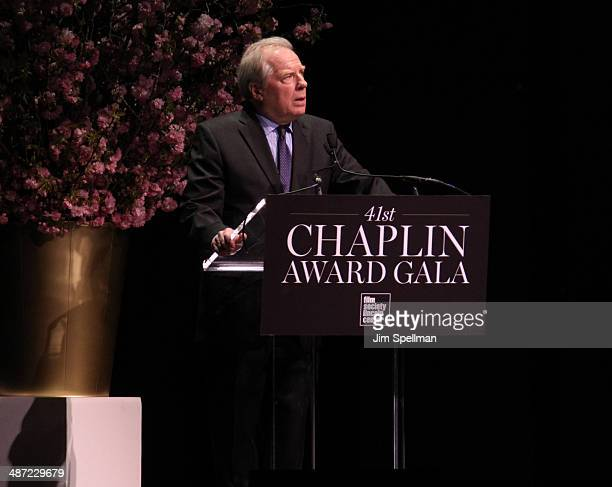 Actor Michael McKean speaks on stage at the 41st Annual Chaplin Award Gala at Avery Fisher Hall at Lincoln Center for the Performing Arts on April 28...