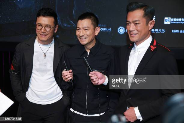 Actor Michael Miu Kiuwai actor Andy Lau Takwah and actor Louis Koo Tinlok attend a press conference of film 'The White Storm 2 Drug Lords' on March...