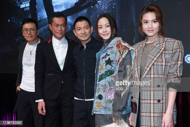 Actor Michael Miu Kiuwai actor Louis Koo Tinlok actor Andy Lau Takwah actress Karena Lam and actress Chrissie Chau attend a press conference of film...