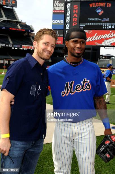 Actor Michael Morrison poses with Jose Reyes of the NY Mets during a visit to Citi Field on May 22 2010 in New York City