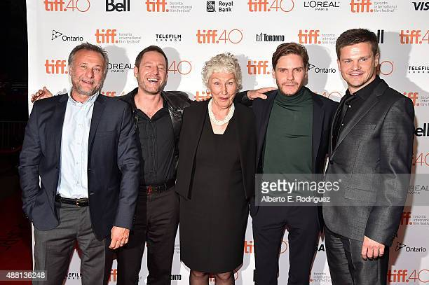 Actor Michael Nyqvist director Florian Gallenberger actress Richenda Carey actor Daniel Brühl and producer Benjamin Herrmann attend the 'Colonia'...