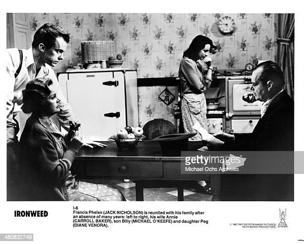 Actor Michael O'Keefe actress Carroll Baker actress Diane Venora and actor Jack Nicholson in a scene from the Tri Star Entertainment movie Ironweed...