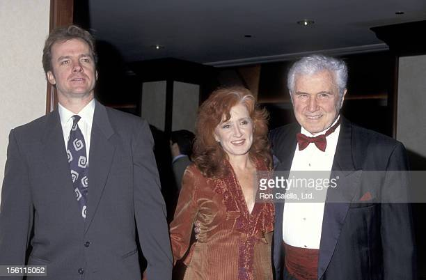 Actor Michael O'Keefe Musician Bonnie Raitt and father Actor John Raitt attend the National Academy of Recording Arts Sciences MusiCares Person of...