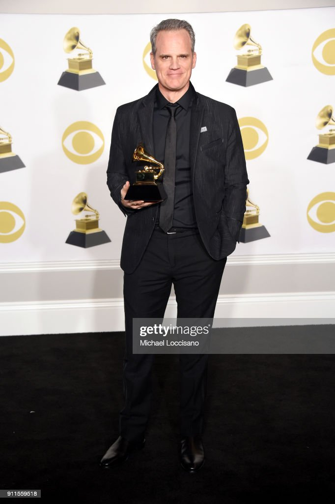 Actor Michael Park, winner of the Best Musical Theater Album award for 'Dear Evan Hansen' poses in the press room during the 60th Annual GRAMMY Awards at Madison Square Garden on January 28, 2018 in New York City.