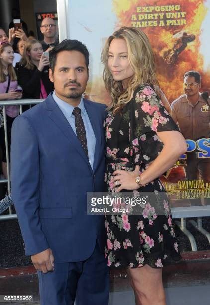 Actor Michael Peña and wife Brie Shaffer arrive for the premiere of Warner Bros Pictures' CHiPS held at TCL Chinese Theatre on March 20 2017 in...