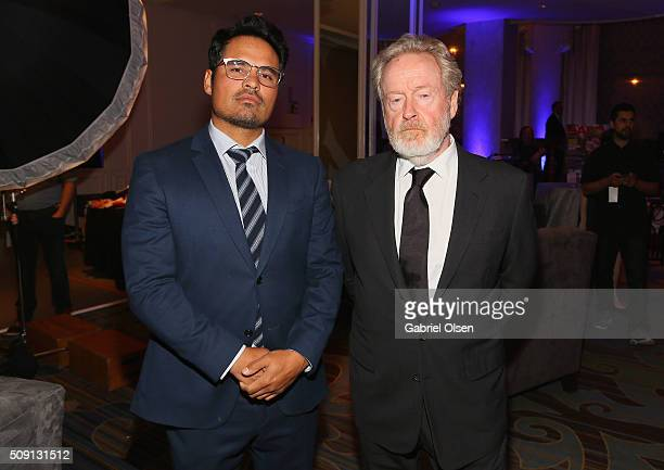 Actor Michael Pena and director Ridley Scott attend AARP's Movie For GrownUps Awards at the Beverly Wilshire Four Seasons Hotel on February 8 2016 in...