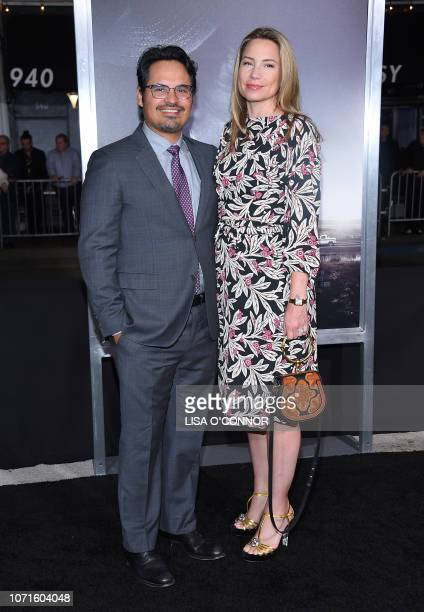 US actor Michael Pena and his wife Brie Shaffer arrive for the premiere of The Mule at the Regency Village theatre in Westwood California on December...