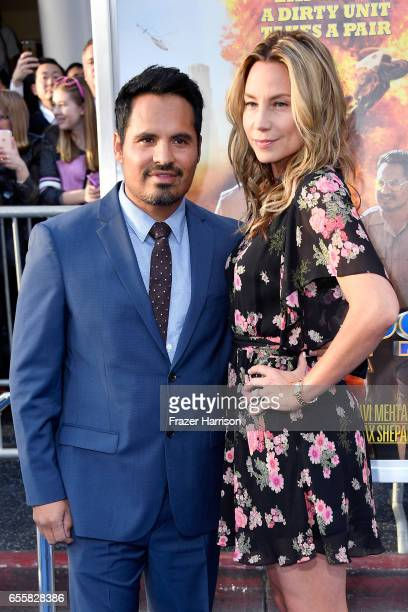 Actor Michael Pena and screenwriter Brie Shaffer at the premiere of Warner Bros Pictures' CHiPS at TCL Chinese Theatre on March 20 2017 in Hollywood...