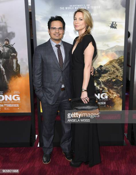 Actor Michael Pena and screenwriter Brie Shaffer attend the world premiere of '12 Strong' at Jazz at Lincoln Center on January 16 in New York City /...