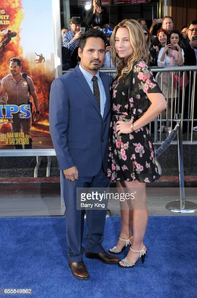 Actor Michael Pena and wife Brie Shaffer arrive at the premiere of Warner Bros Pictures' 'CHiPS' at TCL Chinese Theatre on March 20 2017 in Hollywood...