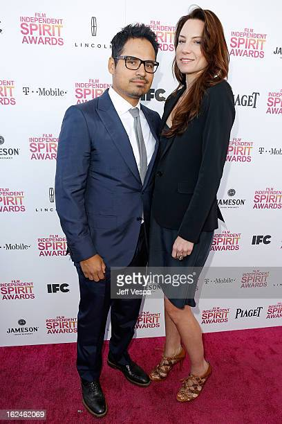 Actor Michael Pena and wife Brie Shaffer attend the 2013 Film Independent Spirit Awards at Santa Monica Beach on February 23 2013 in Santa Monica...