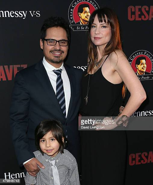 Actor Michael Pena wife Brie Shaffer and son Roman Pena attend the premiere of Pantelion Films and Participant Media's Cesar Chavez at TCL Chinese...