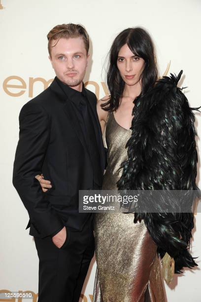 Actor Michael Pitt and model Jamie Bochert arrive to the 63rd Primetime Emmy Awards at the Nokia Theatre LA Live on September 18 2011 in Los Angeles...