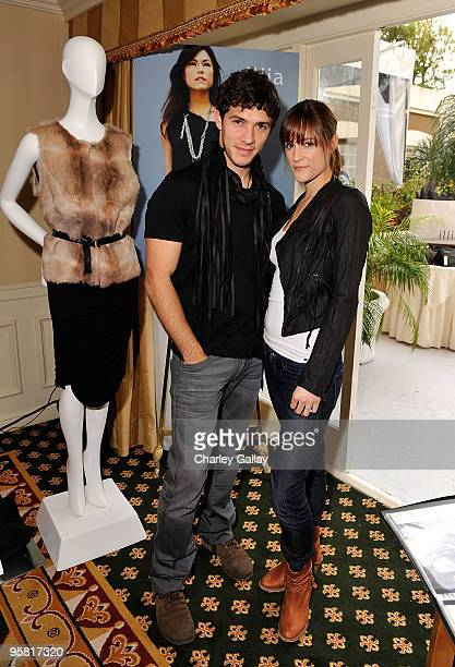 Actor Michael Rady and actress Rachael Kemery visits the Illia display during the HBO Luxury Lounge in honor of the 67th annual Golden Globe Awards...