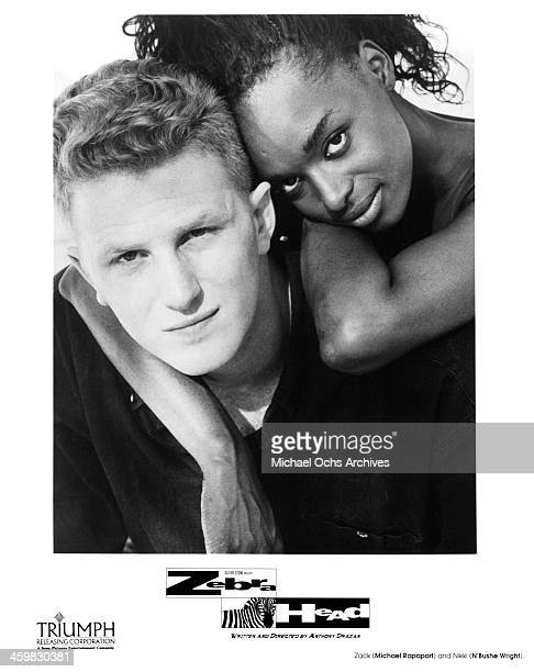 Actor Michael Rapaport and actress N'Bushe Wright on set of the movie Zebrahead circa 1992